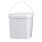 Afbeeldingen van Emmer 5L vierkant wit met plastic handvat