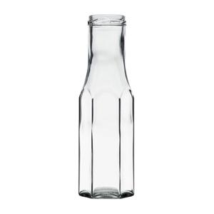 Image sur Bouteille sauce hexagonale  250ml verre TO43 transparent